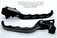 Clutch & Brake Levers Billet Custom for Harley Davidson Streetglide Roadglide RoadKing UltraClassic Electraglide FL Trike Road King Street Glide Ultra Electra Classic FLH FLHX FLTR FLHT 1996 - 2007  Black Anodized Pin Stripe Series Touring Bag