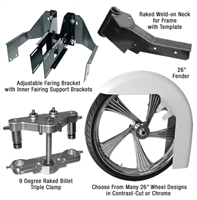 Bagger 26 Inch Front Wheel Conversion Kit Complete Road Glide Roadglide RG Touring Harley Big Wheel Raked Triple Trees Clamps Fender Tire 2013 2012 2011 2010 2009 2008 2007 2006 2005 2004 2003 2002 2001 2000