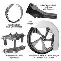 Stage 1 Bagger 26 Inch Front Wheel Conversion Kit Complete Roadking Road King RK Touring Harley Big Wheel Raked Triple Trees Clamps Fender Tire 2013 2012 2011 2010 2009 2008 2007 2006 2005 2004 2003 2002 2001 2000