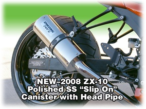 2008 ZX-10 Polished Stainless Slip On Exhaust