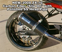 2008 ZX-10 Carbon Fiber Slip On Exhaust