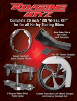 Stage 1 Bagger 26 Inch Front Wheel Conversion Kit Complete Streetglide Electraglide Ultra Classic Touring Harley Big Wheel Raked Triple Trees Clamps Fender Tire 2013 2012 2011 2010 2009 2008 2007 2006 2005 2004 2003 2002 2001 2000