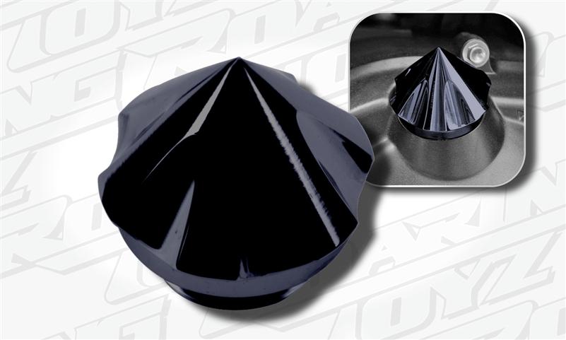 Spiked Arrow Head Oil Fill Cap Black Anodized Suzuki